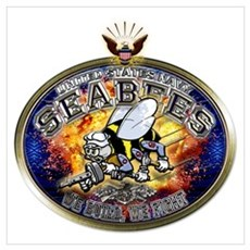 USN Navy Seabees Eagle Wall Art Poster