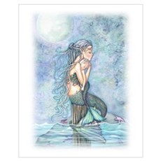 Mother and Baby Mermaid Wall Art Framed Print