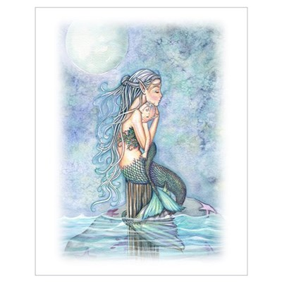 Mother and Baby Mermaid Wall Art Poster