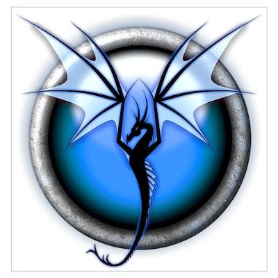 Blue Water Dragon Wall Art Poster