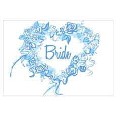 BP Blue Heart Bride Wall Art Framed Print