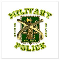 US Army Military Police Gold Wall Art Poster