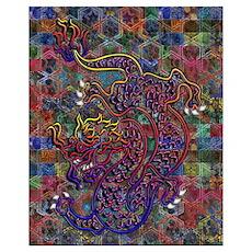 China Dragon Abstract Quilt Wall Art Poster