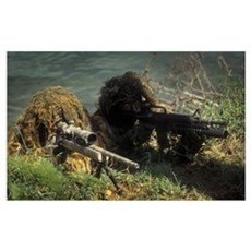 A SEAL Sniper swim pair set up an observation post Canvas Art