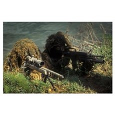 A SEAL Sniper swim pair set up an observation post Poster