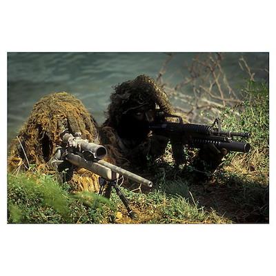 A SEAL Sniper swim pair set up an observation post Poster