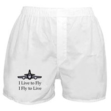 I Live to Fly I Fly to Live Boxer Shorts