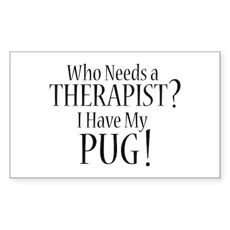 THERAPIST Pug Sticker (Rectangle)
