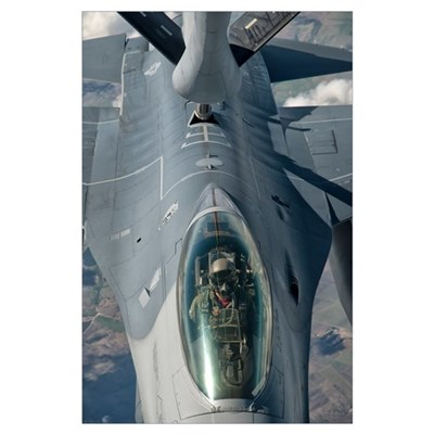 A U.S. Air Force F-16C Fighting Falcon receives in Poster