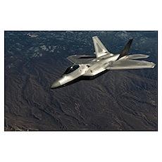 A U.S. Air Force F-22 Raptor in flight Poster