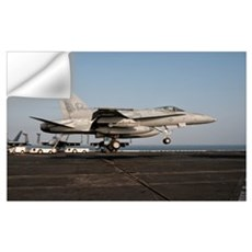 A US Navy F/A-18C Hornet prepares to land aboard U Wall Decal
