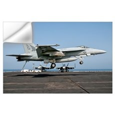 A US Navy F/A-18E Super Hornet prepares to land ab Wall Decal