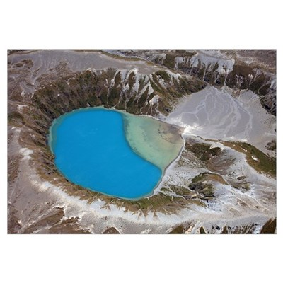 Aerial view of crater lake in Tongariro volcanic c Canvas Art