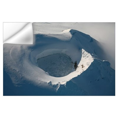 Aerial view of frozen lake in summit crater Mount Wall Decal