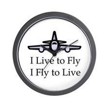 I Live to Fly I Fly to Live Wall Clock