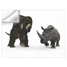 An adult Nedoceratops compared to a modern adult W Wall Decal