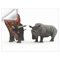 An adult Torosaurus compared to a modern adult Whi Wall Decal