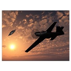 An American P-51 Mustang gives chase to a UFO Framed Print