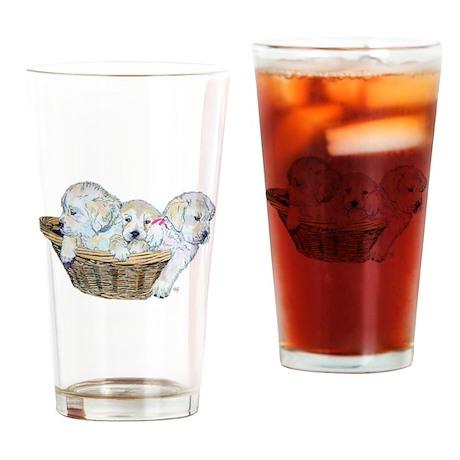 Golden Retriever Pups Drinking Glass