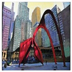 Chicago Flamingo Sculpture Wall Art Poster
