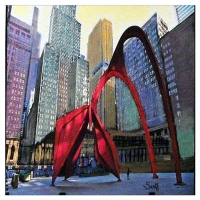 Chicago Flamingo Sculpture Wall Art Poster