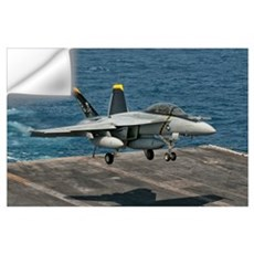 An F/A-18F Super Hornet prepares to land aboard US Wall Decal