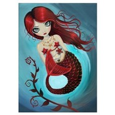 Ruby Mermaid Wall Art Poster