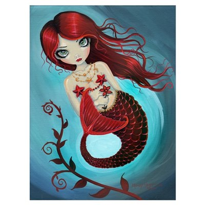 Ruby Mermaid Wall Art Canvas Art