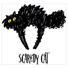 Scribble Scaredy Cat Wall Art Poster