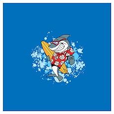 Shark Cartoon Wall Art Poster