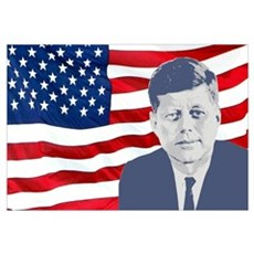 Kennedy and Flag Wall Art Framed Print