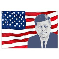 Kennedy and Flag Wall Art Poster