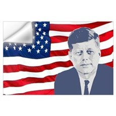 Kennedy and Flag Wall Art Wall Decal
