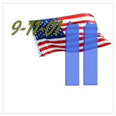 9-11 with Flag, Buildings Wall Art Poster