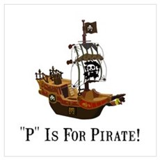 P Is For Pirate Wall Art Poster