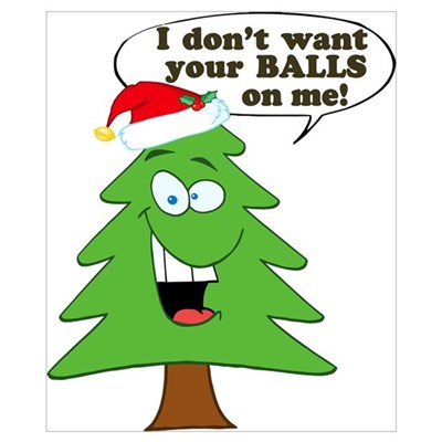 Funny Merry Christmas Tree Wall Art Poster