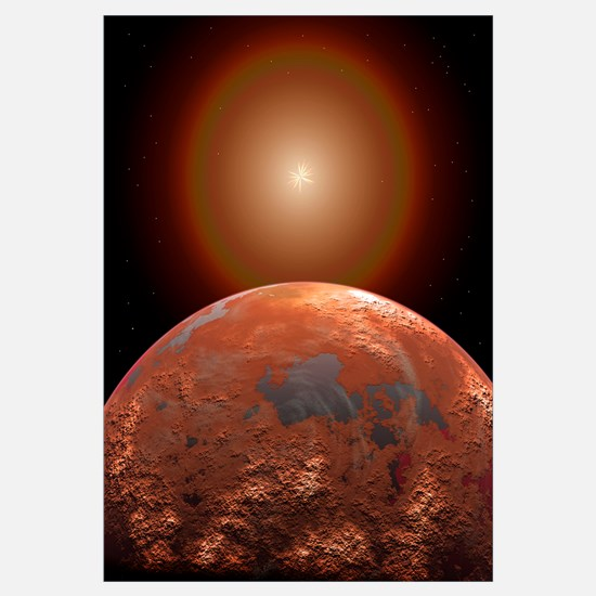 Artist's concept of a distant red planet orbiting