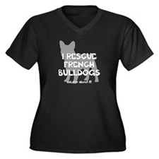 I RESCUE French Bulldogs Women's Plus Size V-Neck