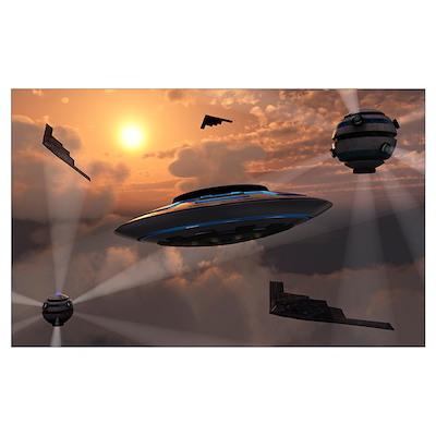 Artist's concept of alien stealth technology Poster