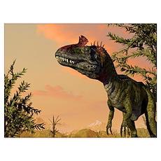 Artist's concept of Cryolophosaurus Poster