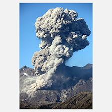 Ash cloud following explosive Vulcanian eruption,