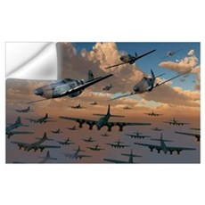 B-17 Flying Fortress bombers and P-51 Mustangs in Wall Decal