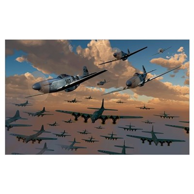 B-17 Flying Fortress bombers and P-51 Mustangs in Poster