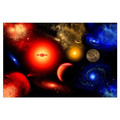 Conceptual image of binary star systems that are f Poster