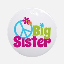 Peace Sign Big Sister Ornament (Round)