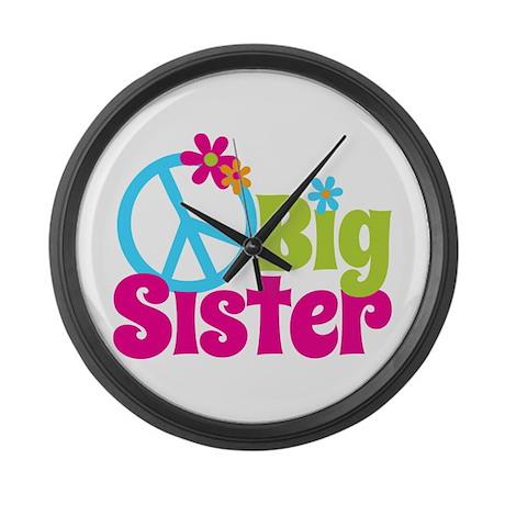 Peace Sign Big Sister Large Wall Clock
