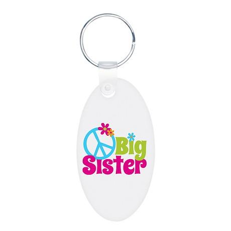 Peace Sign Big Sister Aluminum Oval Keychain
