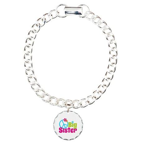 Peace Sign Big Sister Charm Bracelet, One Charm