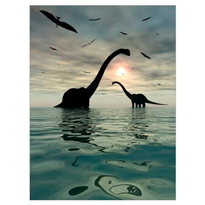 Diplodocus dinosaurs bathe in a large body of wate Poster
