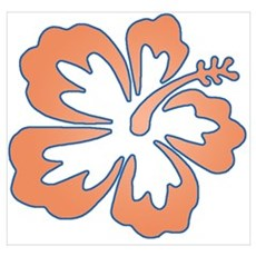 Surf Flowers (Orange and Blue Wall Art Poster